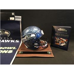 SEATTLE SEAHAWKS COLLECTIBLES INCLUDING 2007 SEASON TEAM SIGNED REPLICA HELMET, SUPER BOWL 2013