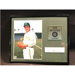 """JIM """"CATFISH"""" HUNTER AUTOGRAPHED FRAMED PICTURE WITH NAME PLATE AND CERTIFICATE OF AUTHENTICITY"""