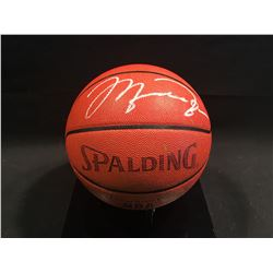 MICHAEL JORDAN AUTOGRAPHED AUTHENTIC NBA BASKETBALL, WITH DISPLAY CASE