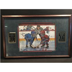 HENRI RICHARD AND FRANK MAHOVLICH AUTOGRAPHED, FRAMED LIMITED EDITION PRINT, WITH ALL TIME STATS