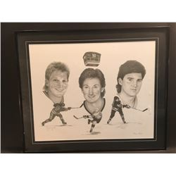"""WAYNE GRETZKY, MARIO LEMIEUX AND BRETT HULL AUTOGRAPHED, LIMITED EDITION LITHOGRAPHIC PRINT """"50"""
