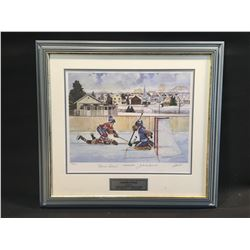 """FRAMED LIMITED EDITION PRINT, """"LEGENDARY RIVALS"""" 1456/1999, AUTOGRAPHED BY MAURICE RICHARD AND"""