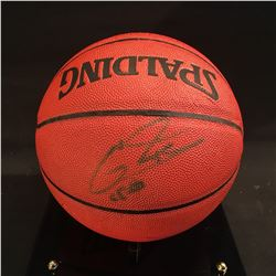 AUTOGRAPHED BASKETBALL, SIGNATURE ILLEGIBLE, COMES WITH DISPLAY CASE, SOME CRACKS