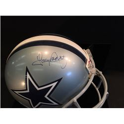 TONY DORSETT AUTOGRAPHED DALLAS COWBOYS HELMET WITH DISPLAY STAND
