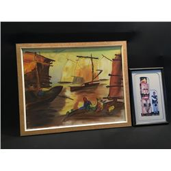 FRAMED ORIGINAL PAINTING OF BOATS AT SUNSET BY MICHAEL WAYNE KUPPA, AND FRAMED PICTURE OF ARTIST