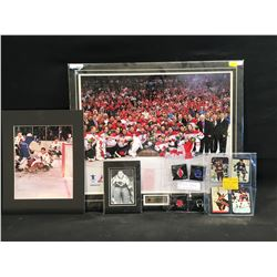 LOT OF SPORTS COLLECTIBLES INC. TEAM CANADA 2010 OLYMPIC GOLD TEAM PICTURE, 4 VINTAGE HOCKEY CARDS,