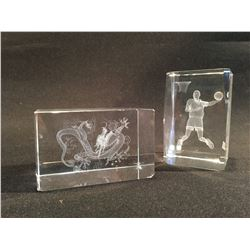 TWO HOLOGRAPHIC GLASS FIGURINES