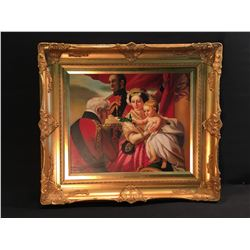 "FRAMED ORIGNAL OIL ON CANVAS PAINTING ""DUKE OF WELLINGTON PRESENTING A GIFT"""