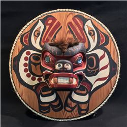 """HUBERT BILLY, HAND CARVED AND PAINTED """"SALMON AND BEAR"""" MASK ON PANEL WITH MIRROR GLASS INLAID"""