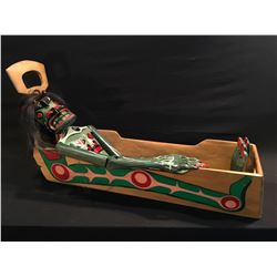 """HAND CARVED AND PAINTED """"WILDMAN OF THE WOODS IN STEAM BENT CRADLE"""" BY DAVID JACOBSON HUNT FROM"""