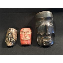 COLLECTION OF THREE SMALL CARVED WOODEN MASKS, BETWEEN 4'' AND 6.5'' H
