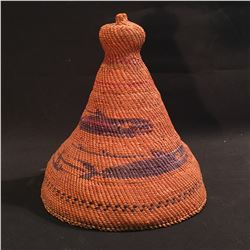 HAND WOVEN NOOTKA HAT, C. 1930-40, WITH SALMON AND FISHERMEN DESIGNS, 10'' H
