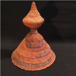 HAND WOVEN NOOTKA HAT, C. 1930-40, WITH SALMON AND FISHERMEN DESIGNS, 12'' H