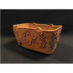 """HAND MADE TRADITIONAL NATIVE BASKET """"1966-MADE BY LYTTON INDIAN MRS. VERA HANCE"""", 13.5'' W"""