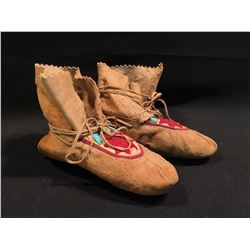 PAIR OF B.C. NATIVE HAND MADE BEADED SHOES