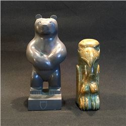 TWO HAND CARVED STONE SCULPTURES BY LESLIE HAMPTON, BEAR, 8'' H, AND EAGLE TOTEM, 6'' H