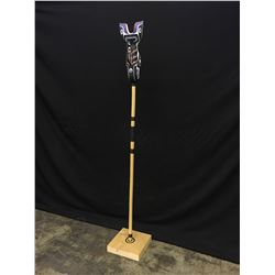 """JASON HENRY HUNT, HAND CARVED AND PAINTED """"JOKERVILLE WALKING STICK-ORCA RATTLE"""" 75'' H INCLUDING"""