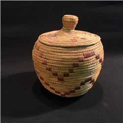 B.C. FIRST NATIONS HAND WOVEN LIDDED BASKET, 10'' H