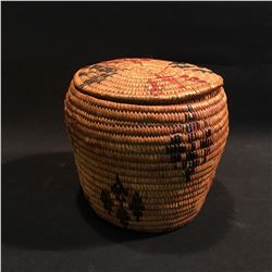 B.C. FIRST NATIONS HAND WOVEN LIDDED BASKET, 7.5'' H