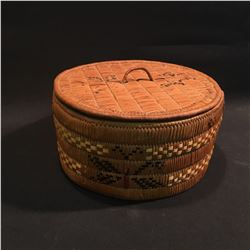 B.C. FIRST NATIONS HAND WOVEN ROUND LIDDED BASKET, 7.5'' H X 11'' W