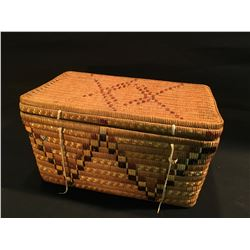 B.C. FIRST NATIONS HAND WOVEN BASKET, 9'' H X 16.5'' W X 10.5'' D