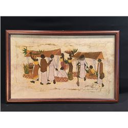 HAND PAINTED AFRICAN TAPESTRY FEATURING FAMILIES CARRYING FOOD, 27'' W X 16.5'' H
