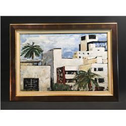 "G. HERNDON ""MIAMI"" FRAMED ORIGNAL OIL ON CANVAS PAINTING, SIGNED LOWER RIGHT"