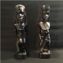 PAIR OF HAND CARVED EBONY AFRICAN WOMAN STATUES, 21'' H