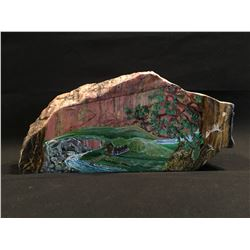 "HAND PAINTED RHODONITE ""STONE OF LOVE"" FEATURING COTTAGE ON A RIVER SCENE, 17'' W"