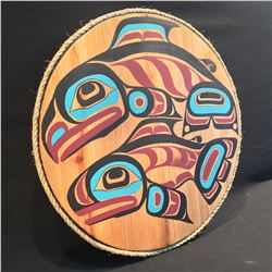 "HUBERT BILLY, HAND CARVED AND PAINTED ""MALE AND FEMALE SOCKEYE"" PANEL, 21'' W"