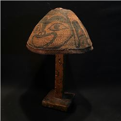 B.C. HAIDA FIRST NATIONS HAND WOVEN AND PAINTED HAT, ON STAND, C. 1880