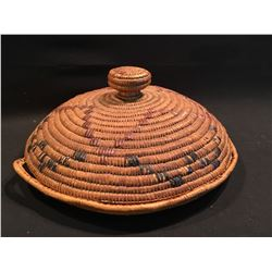 B.C. FIRST NATIONS HAND WOVEN TRAY WITH LID, 16'' W