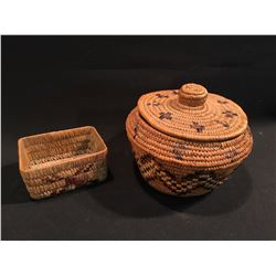 2 B.C. FIRST NATIONS HAND WOVEN PIECES, LIDDED BASKET, 9'' W, AND WOVEN BOX, 5'' W