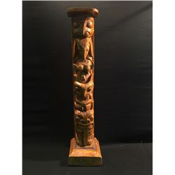 HAND CARVED 4 FIGURE TOTEM POLE DEPICTING HAWK, RAVEN, BEAR AND MAN, 40.5'' H