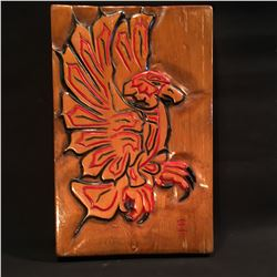 HAND CARVED AND PAINTED EAGLE PANEL, 17.5'' H