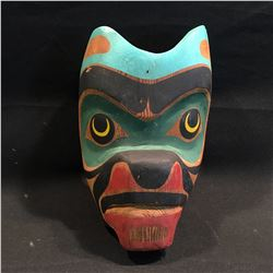 HAND CARVED AND PAINTED BEAR MASK, 11'' H