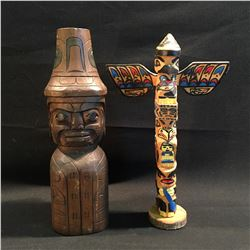 TWO HAND CARVED AND PAINTED WOODEN TOTEM POLES DEPICTING MAN, EAGLE, HAWK, CHILD, BEAR AND MORE,