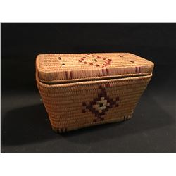 B.C. NATIVE STYLE TRADITIONAL HAND WOVEN BASKET, 12.5'' WIDE
