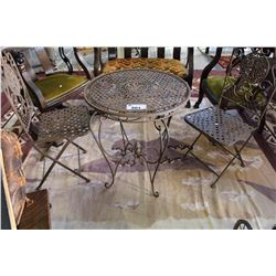 IRON PATIO TABLE WITH TWO CHAIRS