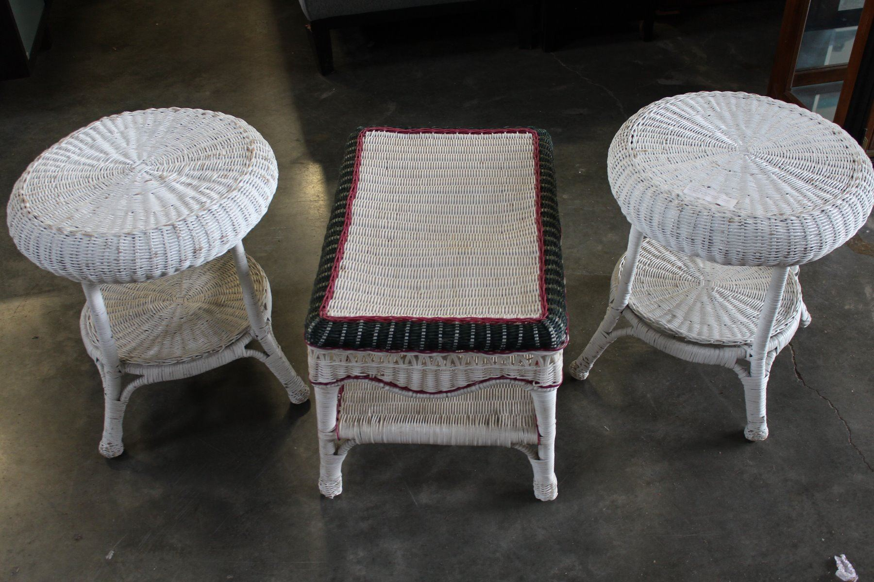 Pair of white wicker endtables and white wicker coffee table big valley auction White wicker coffee table