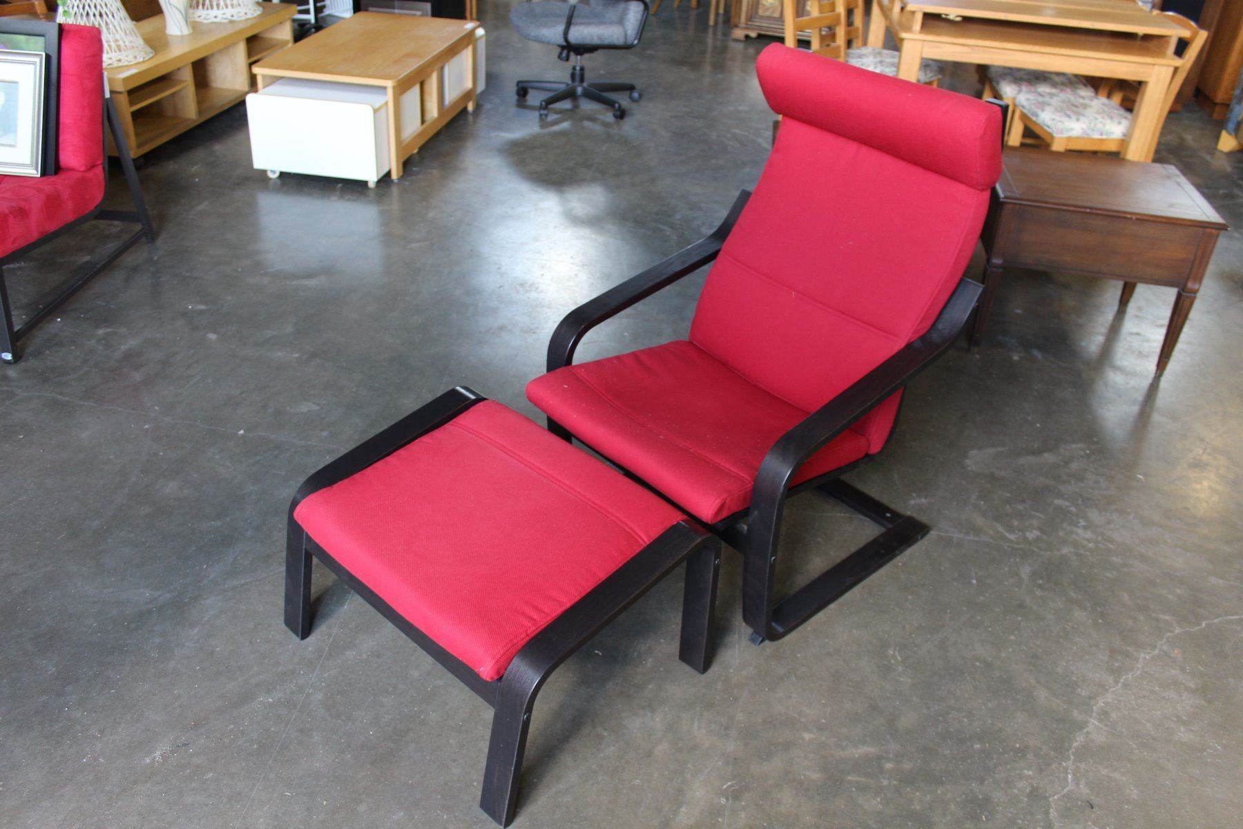 Red upolsted ikea bentwood chair and ottoman big valley auction - Bentwood chairs ikea ...
