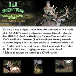3 day 2 night combo hunt for 2 hunters with a credit of $4000 towards 2 trophy whitetail deer