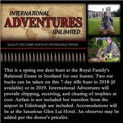 Spring roe deer hunt at the Royal Family's Balmoral Estate in Scotland for one hunter