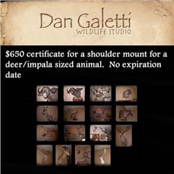 $650 certificate for a shoulder mount for a deer/impala sized animal.