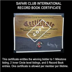 Safari Club International Record Book Certificate