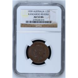Australia 1939 1/2 Penny Kangaroo Reverse NGC AU53 Brown *ONLY 3 GRADED*