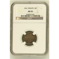 Straits Settlements 1901 10 Cents NGC AU55 *ONLY 5 GRADED*