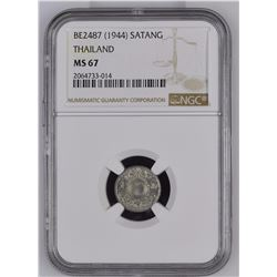 Thailand BE2487/1944 Satang NGC MS67 *ONLY 1 GRADED*
