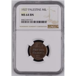Palestine 1927 Mil NGC MS64 Brown *ONLY 18 GRADED*