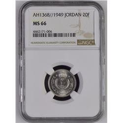 Jordan 1368//1949 20 Fils NGC MS66 *ONLY 4 GRADED*